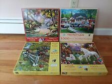 Lot of 4 SunsOut Various Artists 1000 Piece Jigsaw Puzzles