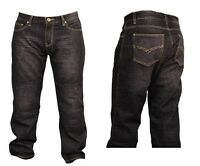 Mens biker DENIM JEANS with Aramid Protective lining black gbg