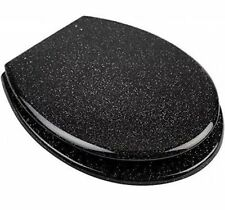 Brand New Black Glitter Toilet Seat Cover Metal Hinges - Universal Fittings