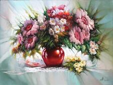 Field flowers in vase/ Still life / Pink red green / abstract oil  60cm x 80 cm