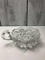 Vintage American Brilliant Pattern Cut Lead Crystal Handled Nappy Sawtooth Bowl
