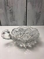 Vintage American Brilliant Pattern Cut Lead Crystal Handled Nappy Sawtooth Bowl