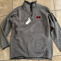 NWT Antigua 2XLT Golf Mississippi State Bulldogs 1/4 Zip Football Pullover Grey