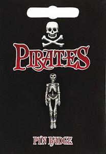 Pirate Skeleton Silver Pewter Pin Badge