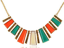 Tribal Inspired Golden Tone Abstract Shapes Statement Colorful Collar Necklace
