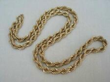Buen sólido 9 quilates de Oro Cuerda Giro Collar caracteriza Londres 1990.