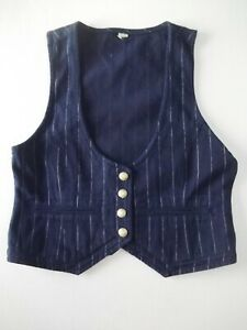 Ladies waistcoat Denim Co Size 10 Navy blue Striped Unlined Good con Xmas VR2