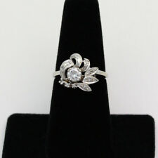 Vintage 14k White Gold .33 Carat Center Diamond Fan Cocktail Ring - Size 6.25