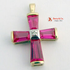 Raspberry Cross Pendant Synthetic Ruby 10 K Yellow Gold Diamond Accent
