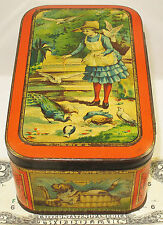 CARR'S  PETS  BRITISH BISCUIT TIN  c1887  GIRL FEEDING BIRDS RABBITS CATS DOG