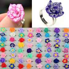 US Wholesale 30Pcs Lots Rings Adjustable Soft Resin Flower Kids Ring Jewelry