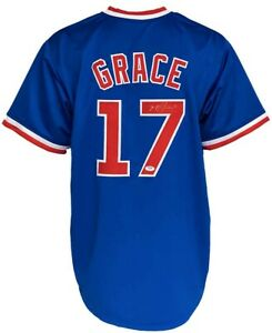 Chicago Cubs Mark Grace Autographed Pro Style Blue Jersey PSA Authenticated