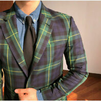 Green Men Plaid Windowpane Blazer Jacket Formal Wedding Party Tuxedos Tailored