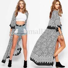 Women Chiffon Printed Kimono Long Tops Shirt Coat Open Cardigan Tops Jacket Plus