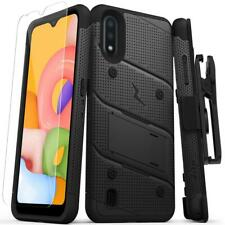 ZIZO Bolt Series for SAMSUNG Galaxy A01 Case Black/Black+ Holster +Temper Glass