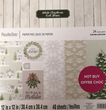 WHITE CHRISTMAS 12X12 SCRAPBOOK CARDSTOCK PAPER PAD 48 LOT~RECOLLECTIONS~GLITTER