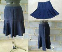 AMERICAN LIVING Chambray Denim Jeans Aline Fishtail Midi Skirt UK 14 Blue Summer