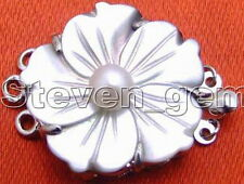 25mm Flower natural shell and white 6mm Pearl 3 strand Clasp for Jewelry Making