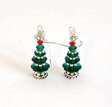 """IAJ"" STERLING SILVER Earrings with SWAROVSKI EMERALD GREEN CHRISTMAS TREES"