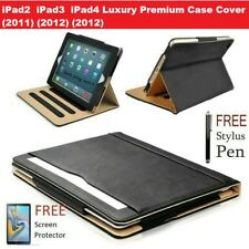 """For iPad 3 (2012) 9.7""""  Luxury Premium PU Leather Tablet Folio Case Stand Cover"""