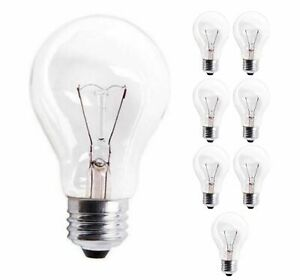 Sterl Lighting Pack of 8 A19 Clear Incandescent Rough Service Bulb 60W120V E26