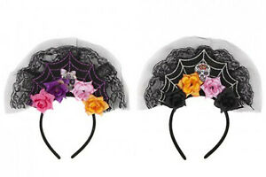 Scary Flowers Veil Headband Halloween Day of The Dead Girl Fancy Accessories