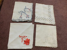 Collectible Handkerchief Set 4 Embroidered Black Gray Red Blue & Pink NICE