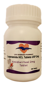 Loperamid Anti-Diarrheal 2mg 300 Caplet Bottle by Life Sciences made in USA