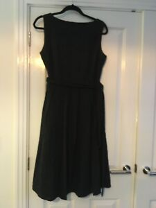 Vintage Black Cotton Broderie Fit And Flare Shift Dress Fits Size 14