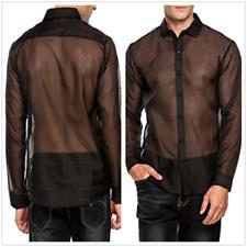 XL Men's Sexy See Through Mesh Top Shirt Clubwear Long Sleeve Casual Shirt Top