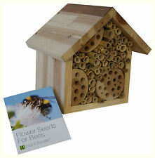 Wooden Bee Hotel & Flower Seeds - Insect House Nest Home by Plant Birthday Gift