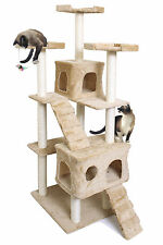 "72"" Tan Cat Kitten Tree Play House Tower Duplex Condo Post Bed Scratch Toy"