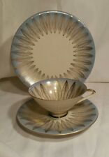 Vintage Blue & Gold Bareuther Tea Trio - Dessert Plate, Cup & Saucer Art Deco