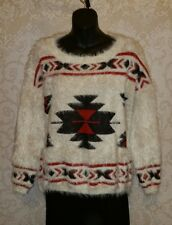 Cecico Women White/Black/Red Aztec SW Fuzzy Cropped Soft Sweater Sz M #2886