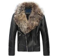 Winter Warm Big Fur Collar Slim PU Leather Jackets Motorcycle Punk Men Coat XXL