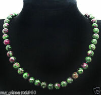 Handmade 10MM Natural Ruby Emerald Faceted Jade Round Beads Necklace 18''
