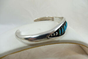 Vintage Navajo Style Sterling Silver Turquoise Cuff Bangle 925