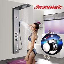 Thermostatic Brushed Nickel Shower Panel Column Massage Jets Tub Mixer W/Shower