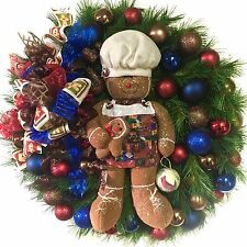 """In Outdoor Wreath Gingerbread Christmas Holiday SHATTERPROOF Rustic Country 30"""""""