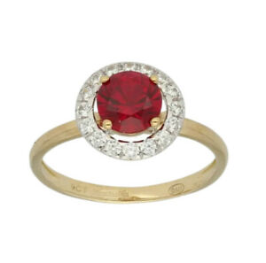 9ct yellow Gold red ruby and created diamond Round Cut ringsize L Free postage
