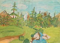 Vintage fauvist gouache painting landscape