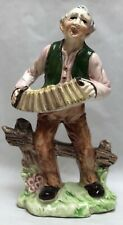 Vintage Old Man Playing Accordion Squeeze Box Music Singing Figurine Wales Japan
