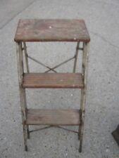 Metal & Wood Mixed 2 STEP Antique Vintage Step Wood Folding Ladder Small Ladder