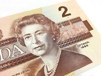 1986 Canada 2 Two Dollars BBP Prefix Canadian Uncirculated Banknote I702