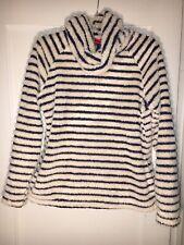 LANDS END Fleece Cowl Hand Pocket Women MP 10 12 Fuzzy Navy White Stripe.  A552