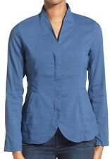 Eileen Fisher Blue Linen Blend Zip Front Stand Collar Jacket Petite PM NWT $298
