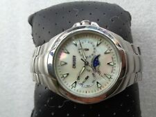 MOTHER OF PEARL DIAL SWISS CRUISER MULTI-FUNCTION MOON PHASE MENS QUARTZ WATCH