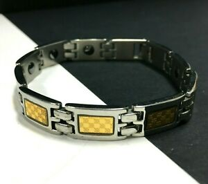 "Unisex Titanium & Gold Square Link Bracelet 8.5"" Checkerboard Women Men MM41E"