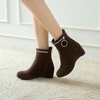 NEW Ladies Ankle Boots Zipper Hidden Wedge Autumn Casual Shoes Size Fashion