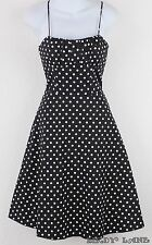 Black White Polkadot Cotton Swing Dress Tulle Hem 50s Rockabilly Pin-Up Size 7